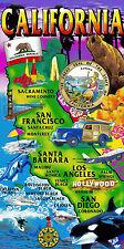 CALIFORNIA STATE MAP BEACH TOWEL BEAR WINE SURF