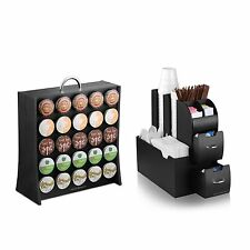 Coffee Condiment Organizer Caddy and K-Cup Display Rack Combo Office Home Gather