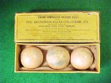 ANTIQUE VINTAGE BRUNSWICK-BALKE-COLLENDER COMPOSITION BILLIARD CUE BALLS IN BOX