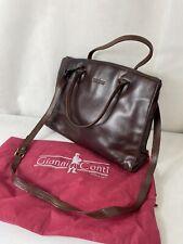 GIANNI CONTI Ladies Medium Size Brown Leather Handbag Cross Body Messenger Style