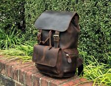Mens Weekender bag Gym genuine Leather two toned Roll top backpack travel