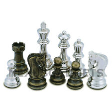Lopa Chess PIECES ONLY Metal Set, LARGE 3.75 Inch King, EXTRA QUEENS, NO BOARD