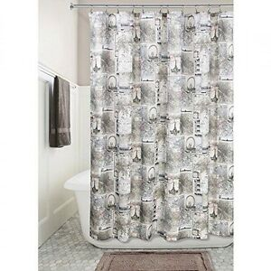 "InterDesign Cafe Paris Fabric Shower Curtain 72"" X 72"" Machine Washable NIP"