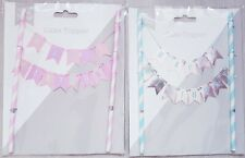 Blue/Pink Happy Birthday Banner Flags Cake Topper. Double sided.Cake Decoration
