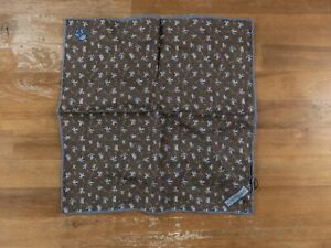 CORNELIANI brown floral motif linen pocket square authentic