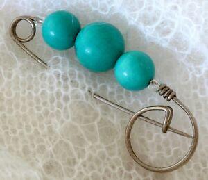 Natural Turquoise Brooch Pin Handmade Reiki Crystal Healing Protective Gemstone