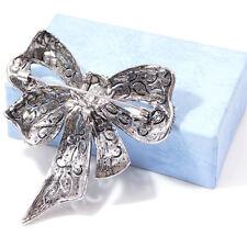 Large Vintage Crystal Rhinestone Bowknot Enamel Brooch Pin Bow Tie Jewelry S
