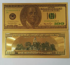 10pcs Old Version $100 dollar Gold Foil Golden USD Paper Money Banknotes Crafts