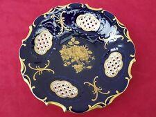 Pirkenhammer Prunkschale Kobald Blau Goldverzierung Durchbrucharbeit Porzellan