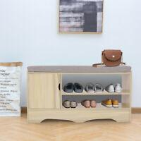 Wood Shoe Storage Rack Bench Shelf Soft Seat Stool Organizer Entryway Furniture