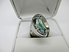 Antique Style 14K White Gold 2.84Ct, 20.90x5.40mm Blue Diamond Engagement Ring