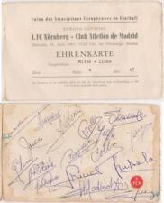Ehrenkarte Ticket 1. FC Nürnberg Atletico Madrid 10.4.1963 17 Autogramme Madrid