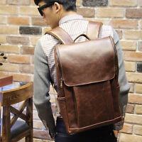 New Men Shoulder Bag School Student Backpack Leather Travel Book Laptop Bags^