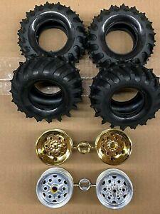 Tamiya Monster Beetle (or Blackfoot) Tires w/ Wheels (Set of 4) 9401968 9335763