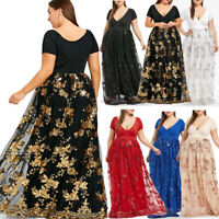 Women's V-Neck Short Sleeve Floral Sequined Evening Party Mesh Dresses Plus Size