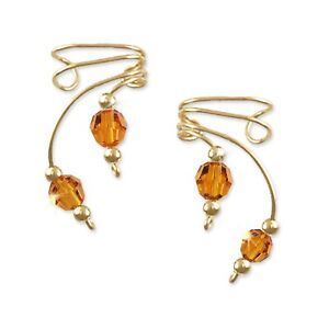 Ear Wraps Cuffs Climbers Crawlers Earrings Gold w/ Swarovski Topaz Crystals #160