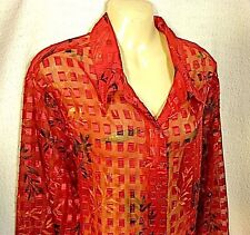 Sheer Red Shimmer Top 2X Shiny Satin Squares Button Shirt Blouse Plus Washable