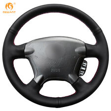 Hand Sewing Black Genuine Leather Steering Wheel Cover for Honda CRV 2003-2006