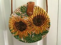 70s Wicker Basket Round Purse Handmade Decoupage Paint Sunflowers Leather Cloth