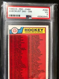 1983 OPC O PEE CHEE HOCKEY #396 CHECKLIST UNMARKED 265-396 Graded PSA 3