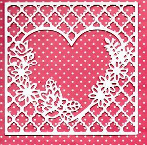 6 NEW FLORAL HEART FRAME  DIE CUTS - WHITE WEDDING TOPPER LOVE MUM SILHOUETTE