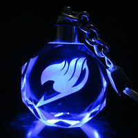 Anime Fairy Tail Guild Logo Sign Crystal Key Chain LED Pendant Cosplay Gift Box