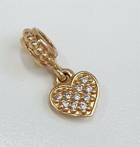 Pandora 14k Yellow Gold & Diamond Pave Brilliant Heart Dangle Charm 750809D