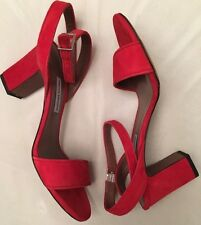 NEW Auth Tabitha Simmons Red Suede Leather Ankle Strap Heel Sandals Sz 38 US 8