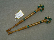 LACEMAKING LACE BOBBINS PAIR GREENHEART WOOD
