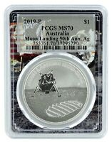 2019 Australian 50th Anniversary Moon Landing 1oz Silver PCGS MS70 Space Frame