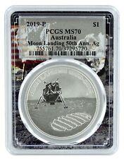 2019 Australian 50th Anniversary Moon Landing 1oz Silver PCGS MS70 Space Frame