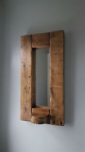 Handmade Rustic Wooden Mirror With Candle Shelf Chunky Wood Farmhouse/Country