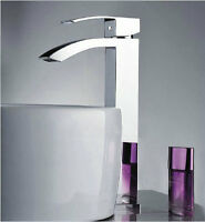 Chrome Widen Thicken Spout Bathroom Basin Mixer Taps Hot Cold Water Brass Faucet