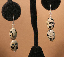 Greenwood Designs Fair Trade Dalmation Jasper Sterling Silver Dangle Earrings