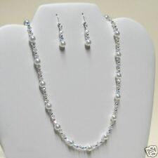 w Swarovski Pearl CRYSTAL Sterling Silver Bridal Wedding Necklace + Earrings SET