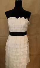Phoebe Couture white ruffle party cocktail sleeveless dress size 4