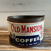 Vintage Old Mansion One Pound Coffee Tin Can