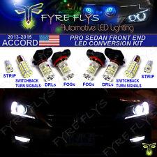8 Piece Super Bright Xenon White Pro LED Package Sedan Front End Conversion Kit