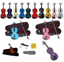 New Beginner Student Violin,Case,Bow+Free Set of Strings,Shoulder Rest,Rosin