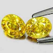 1.26tcw Matching Pair of Natural Oval-cut Yellow Songea VS1 Sapphires (Tanzania)