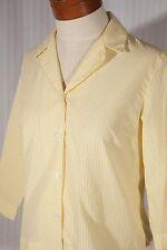 FOXCROFT Women's Size 6 Yellow/White Check 3/4 Sleeve Button-Down Shirt