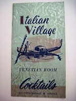 "Beautiful Vintage ""Italian Village"" Venetian Room Cocktails Menu w/ Gondola   *"