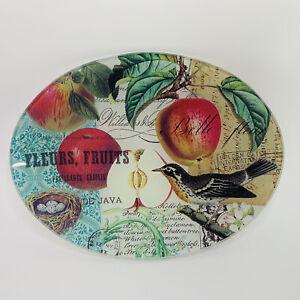 "Michel Design Works Glass 6.25"" Fruit Snack Dessert Plate Robin"