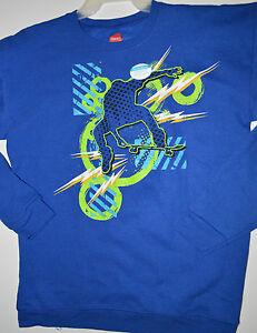 Boy's Hanes Blue Skater Long Sleeve Crew Sweatshirt Top Sizes XL(14-16), 2XL(18)