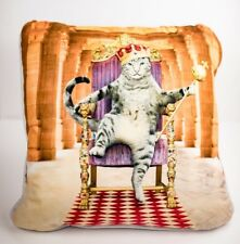 """Pet Pals Cat King on a Throne 18"""" Throw Pillow White Gift Cat Lover EUC"""