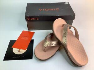 NEW/BOX Vionic TidePerf Womens Comfort Flip Flop Sandal Thong-Pink Rose Gold sz7