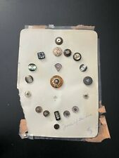Antique 19 Inlay Etched Mother Of Pearl And Other Buttons On Card Estate Find