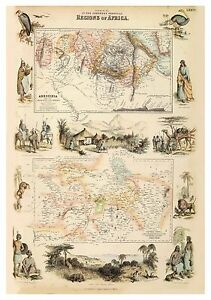 Old Vintage Decorative Map of Ethiopia Central Africa Fullarton 1872
