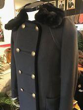 Eryn Brinie Navy Coat with Rabbit Fur Collar Gold Buttons Size: Medium