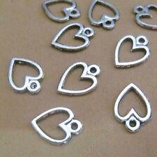 100pc Small Pendant Charm Peach heart Pendant Tibetan Silver Accessories V702